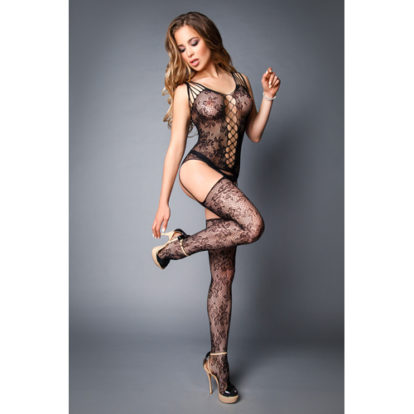 Garter Bodystocking With Floral Pattern-Le Frivole