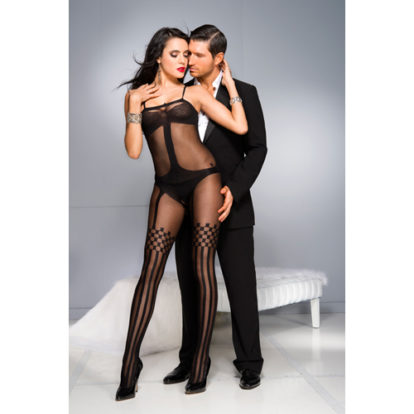 Crotchless Bodystocking With Stockings Design-Music Legs