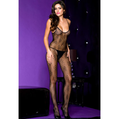 Crotchless bodystocking with spaghetti straps-Music Legs