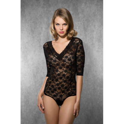 Lace Body with V-Neck - Black-Doreanse