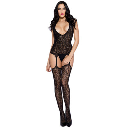 Lace Catsuit With Garter Set Design-Music Legs