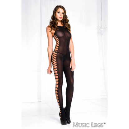 Side cut out crotchless bodystocking-Music Legs