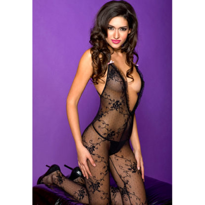 Lace bodystocking with cross back strap-Music Legs