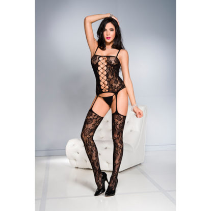 Floral front cut out garter bodystocking BLAC-Music Legs