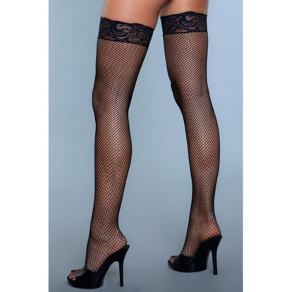 Kiss Goodnight Thigh High Stockings - Black-Be Wicked