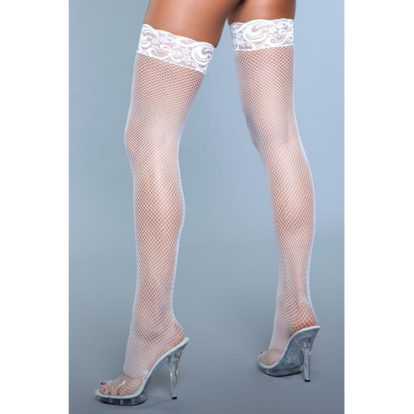 Kiss Goodnight Thigh High Stockings - White-Be Wicked