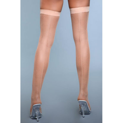 Great Catch Fishnet Backseam Stockings - Nude-Be Wicked