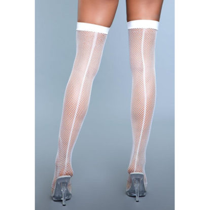 Great Catch Fishnet Backseam Stockings - White-Be Wicked