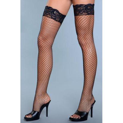 Amber Fishnet Stockings With Lace - Black-Be Wicked
