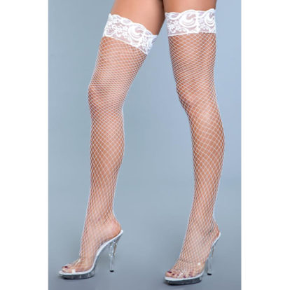 Amber Fishnet Stockings With Lace - White-Be Wicked