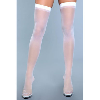 Best Behavior Thigh Highs - White-Be Wicked