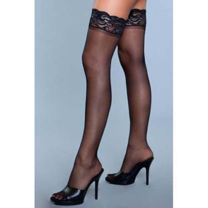Lace Over It Hold-Up Stockings - Black-Be Wicked