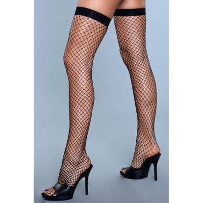 Catch Me If You Can Fishnet Stockings - Black-Be Wicked