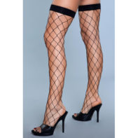 Caught In My Trap Thigh High Stockings - Black-Be Wicked