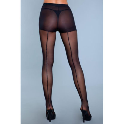 Walk Right Out Pantyhose With Backseam - Black-Be Wicked