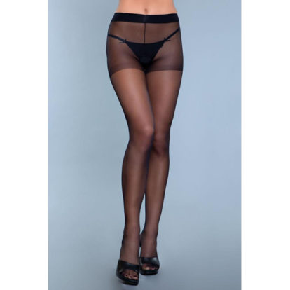 Everyday Wear Crotchless Pantyhose - Black-Be Wicked