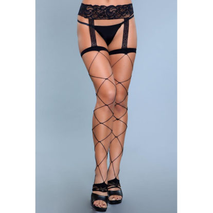 Night Shift Thigh High Stockings With Garter Belt-Be Wicked