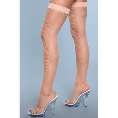 Nylon Fishnet Thigh Highs - Nude-Be Wicked