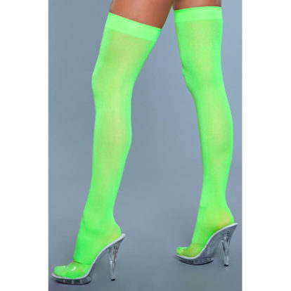 Thigh High Nylon Stockings - Neon Green-Be Wicked