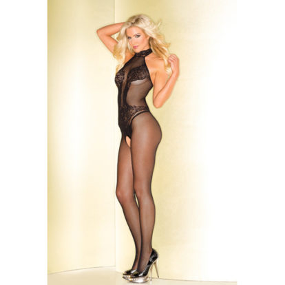 Fishnet Catsuit With Lace Body Print-Be Wicked