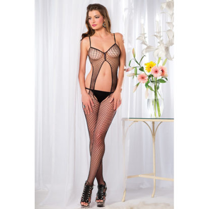 Crotchless Fishnet Catsuit With Open Back-Be Wicked