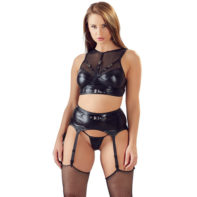 Wetlook Fishnet Suspender Set-Cottelli Collection