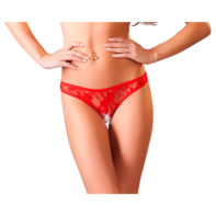 Red lace string with open crotch-Cottelli Collection