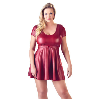 Flared Wetlook Dress-Cottelli Collection