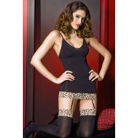 Suspender dress in leopard print - black-Music Legs