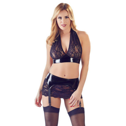 PVC Top & Suspender Skirt With Lace-Black Level
