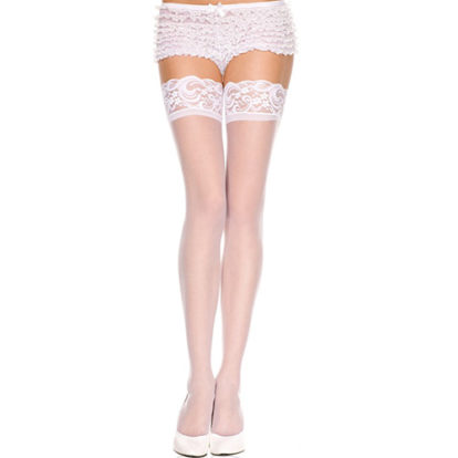 Lace top sheer thigh hi WHITE-Music Legs