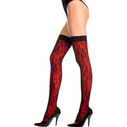 Stockings With Lace And Floral Design -Red-Music Legs