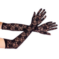 Extra long lace gloves BLACK-Music Legs