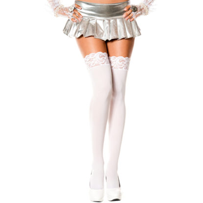Lace top opaque thigh hi WHITE-Music Legs