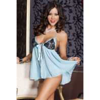 Babydoll With Lace Cups - Turquoise-Music Legs