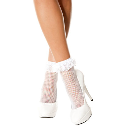 Fishnet anklet with ruffle trim WHITE-Music Legs