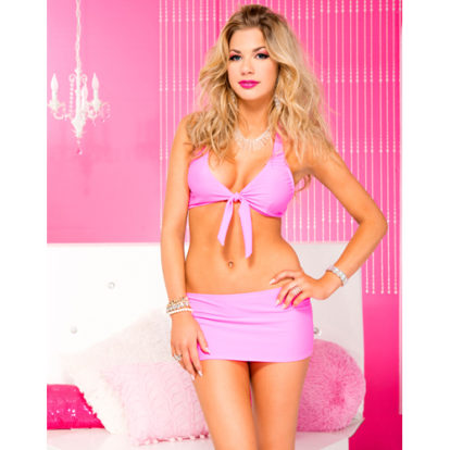 Stretch tie front top and mini skirt HOTPINK-Music Legs