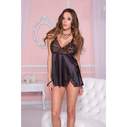 Satin mini dress with lace top and bows BLACK-Music Legs