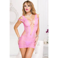 Spandex lace and net with shredded strap dress  NEON PINK-Music Legs