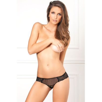 Crotchless lace and dots panty-Rene Rofe