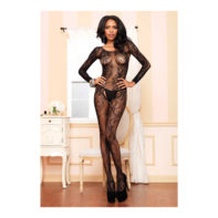 Black Seamless Long Sleeved Bodystocking-Leg Avenue