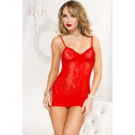 Music Legs Lace Dress - Red-Music Legs