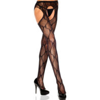Tights With Open Crotch And Bow Pattern - Black-Music Legs