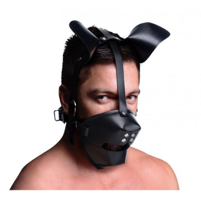 Puppy Play Mask With Ball Gag - Black-Master Series
