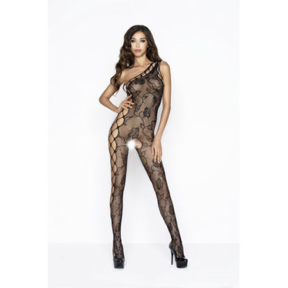 Crotchless Fishnet Bodystocking With Floral Pattern-Passion