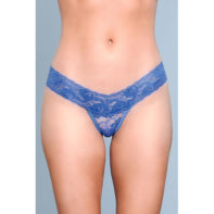 V-Cut Lace Panties - Blue-Be Wicked