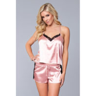 Jasmina Satin Cami & Short Set - Pink-Be Wicked