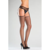 Fishnet Suspender Belt And Stockings With Adjustable Straps-Be Wicked