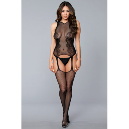 Lace And Fishnet Suspender Bodystocking-Be Wicked