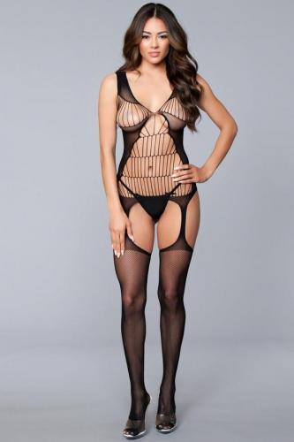 Openwork Catsuit With Suspender Look-Be Wicked